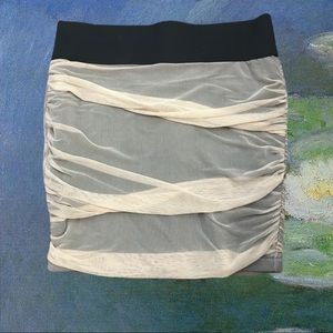 FOREVER 21 Ruched Nude black mini pencil skirt M